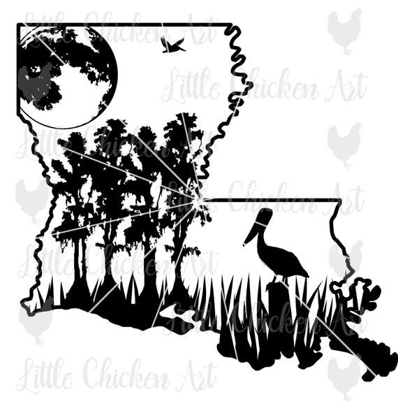 Louisiana Swamp Scene cut file / clip art Silhouette | Etsy