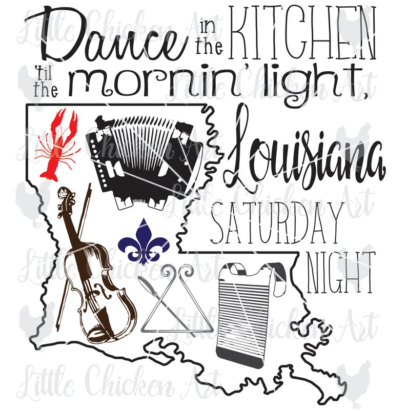 clip art Scrapbook SVG Cajun Instruments Silhouette Cameo Louisiana Saturday Night DXF Cricut Fleur de lis cut file Crawfish