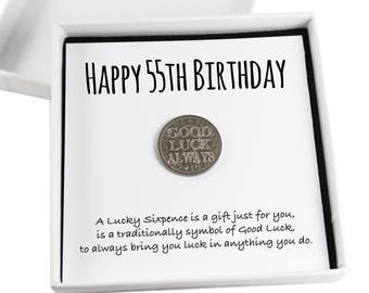 Happy 55th Birthday Lucky Sixpence Keepsake Gift Good Luck Present Coin
