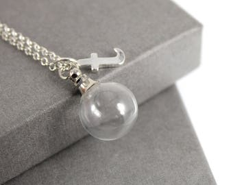 a4ec6e8d6 Sterling Silver Glass Orb with Initial Charm Cremation Ashes Holder  Necklace. Memorial Locket, Urn
