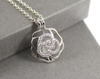 4f86f9312 Sterling Silver Rose Flower Cage Locket with Fillable Glass Orb, Memorial  Jewellery, Urn Locket