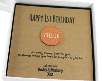 Personalised Baby 1st First Birthday Keepsake Gift Lucky Penny