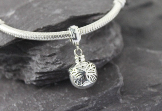 Solid Sterling Silver Round Ball Butterfly Dangle Urn