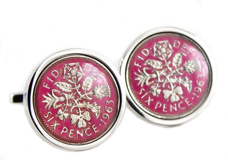 Hand Painted Enamel Coloured Lucky Sixpence Cufflinks choice of year from 1937 to 1970 Choice of 8 color