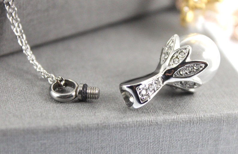 Memorial Necklace Keepsake jewelry Cremation Jewelry Urn Necklace Cremation necklace Stainless Steel Cremation Glass Pearl Pendant