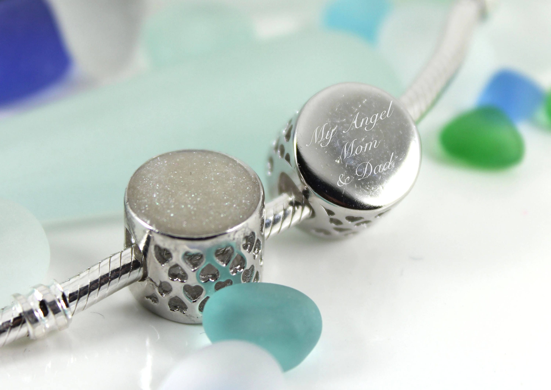 601f1bfc8 ... get engraved diy breast milk sterling silver round charm bead do it  yourself dna breastmilk keepsake