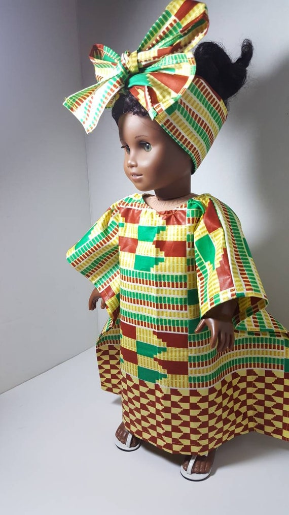 and Our Generation Dolls 18 inch American Girl Handmade doll clothes African Print Top LIMITED EDITION Skirt and Head Wrap Doll Outfit AG
