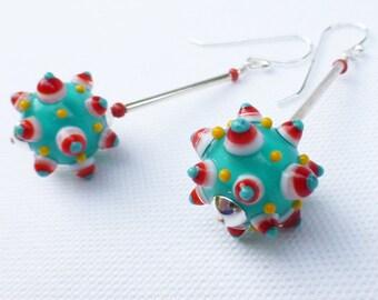 Handmade stacked bumpy dot lampwork glass bead earrings, Contemporary drop earrings. Sterling silver.