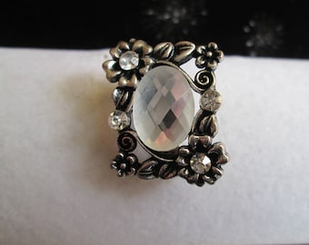Clear and Silver Floral Brooch #1