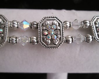 Double Strand Silver and Clear Crystal Bracelet#1
