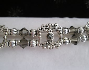 Double Strand Silver and Grey Crystal Bracelet #1