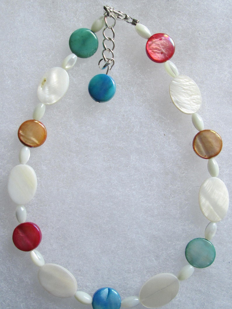 Multicolor Mother-of-Pearl /& Silver Anklet