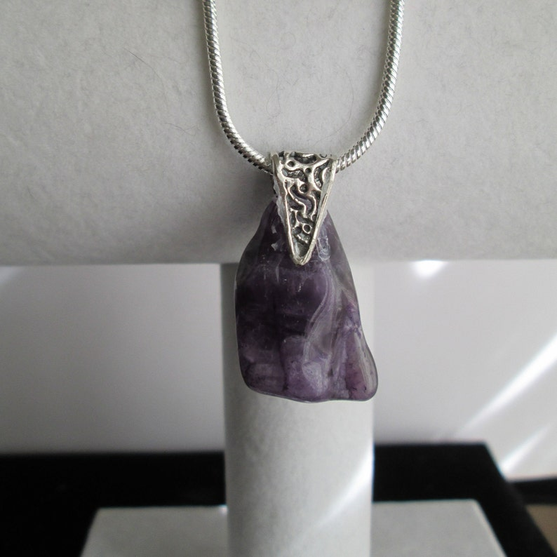Sterling Silver Wrapped Amethyst Gemstone Pendant with a 20 Sterling Snake Chain #24