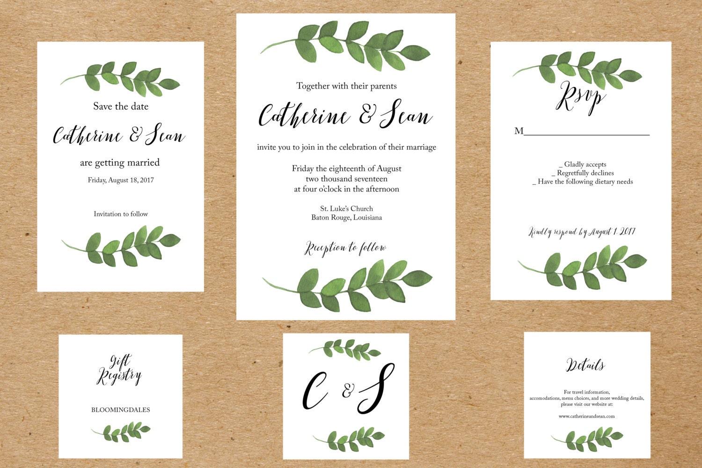 Suite de invitación boda para imprimir invitaciones de boda