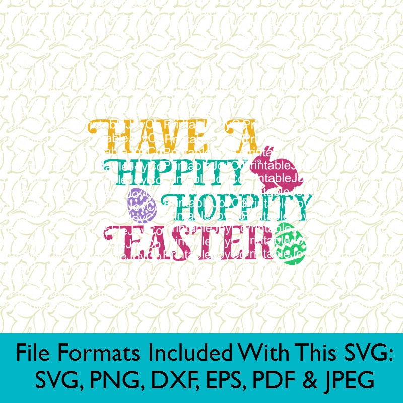 Hippity Hoppity with bunny ears SVGDXFPNG file for cutting machines