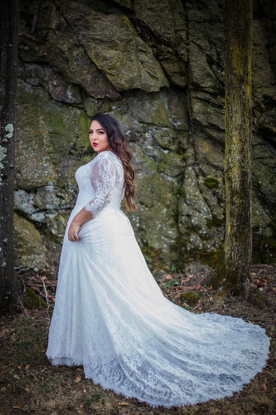 Lace plus size wedding dress with 3 quarter sleeves and corset back curvy  bridal gown with lace back and buttons