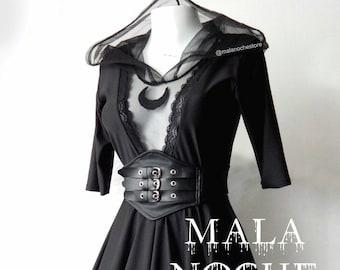 Goth moon dress,  Lace,  belt faux leather, lolita dress,  victorian dress,  dark,  bdsm,  moon top,  mesh dress,  skater dress