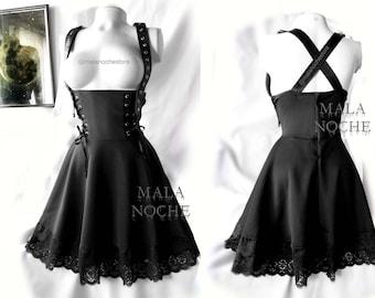 Dress Barbara,  black dress, vegan leather dress, gothic, dark dress, vegan leather skirt, goth dress, Witch skirt, victorian dress
