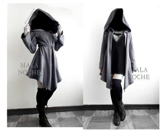 15ce48f225e Cardigan Silver Basic, gohic cape,goth tunic, grey cape, goht coat, witch  cohig, hooded coat, oversize hood, long cape, cape with hood, dark