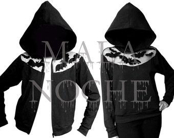 Black hoodie- Hoodie  Bats- oversize hood - goth hoodie- black tull- Sudadera con capucha- embroidered sweater