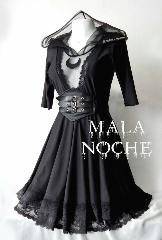 8d2e345b1cf Goth moon dress Lace belt faux leather lolita dress