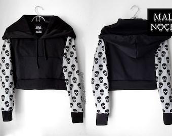 Hoodie-sudadera negra capucha cráneo gris-gran tamaño - goth l hoodie Sudadera con sótano cráneo ropa, gótico, oscuro