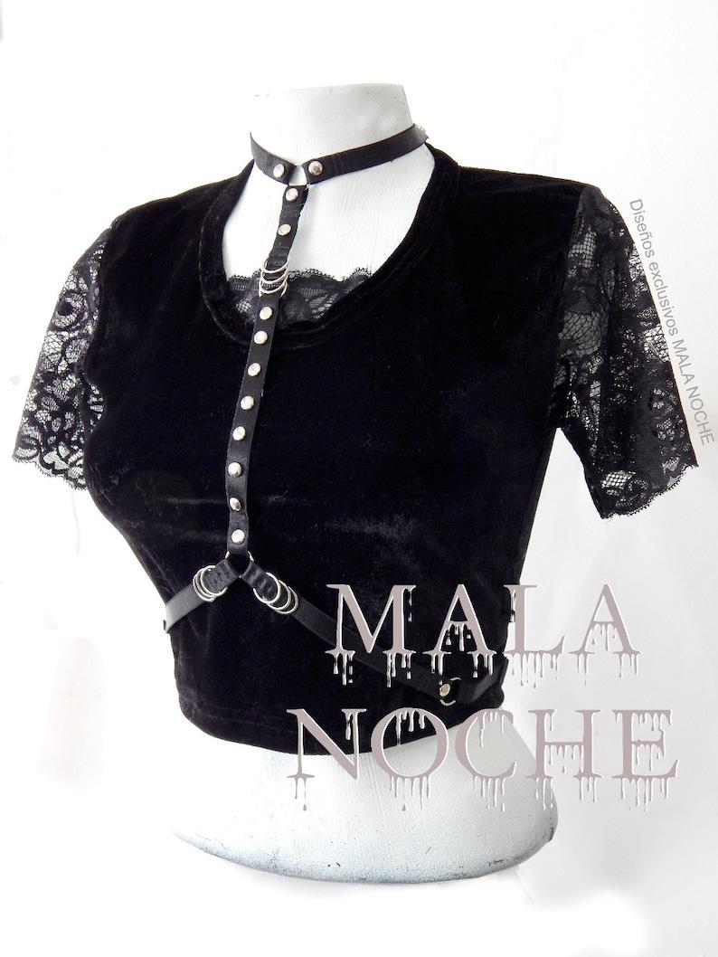 60246100c1c6bf Lace crop top velvet crop top velvet shirt harness choker