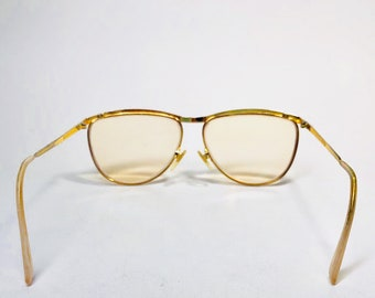 7ddecf08656 Vintage Authentic GUCCI Gold Black Glitter Frame Made In Italy GG 2220 Eyeglass  Frame Glasses