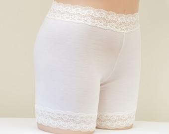 529161f4501 White Pettipants, long panties, under shorts, slip shorts, modesty shorts,  soft wide lace at waist and leg
