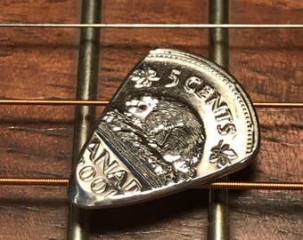 Hand Cut Guitar Pick From A Canadian Nickel