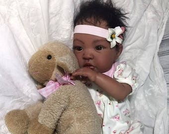 "AA / Biracial Reborn Baby Girl ""Sheliah"" by Believable Babies for People with Dementia and Alzheimer's- Doll Therapy for Memory Care"