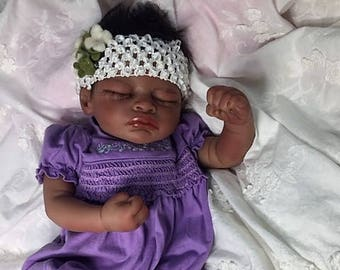 "AA / Biracial Reborn Sleeping Baby Girl ""Aisha"" by Believable Babies for People with Dementia and Alzheimer's- Doll Therapy for Memory Care"