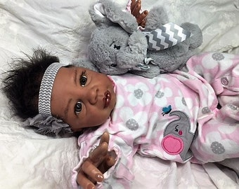 "AA / Biracial Reborn Baby Girl ""Kyra"" by Believable Babies for People with Dementia and Alzheimer's- Doll Therapy for Memory Care"