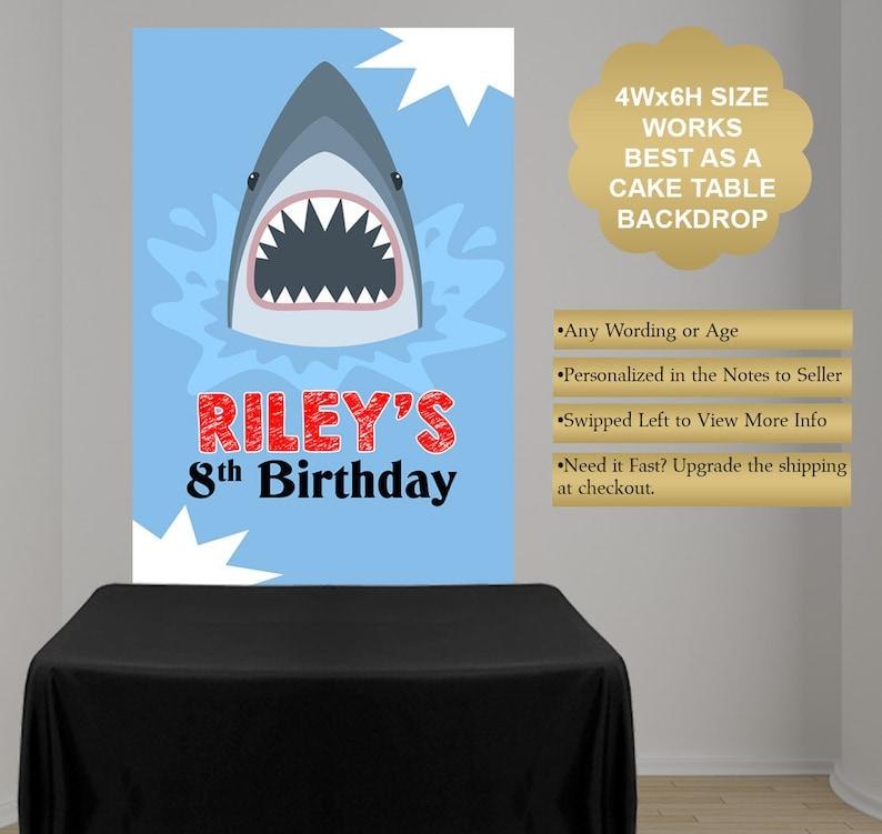 Shark Photo Backdrop Shark Birthday Cake Table Backdrop Birthday Backdrop Birthday Party Backdrop Vinyl Printed Backdrop