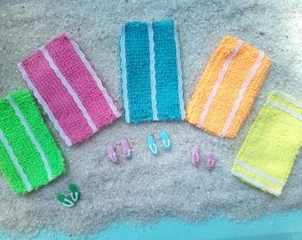 Fairy Garden Striped Beach Towel for Miniature Garden