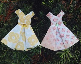 Handmade Origami Dresses, Scrapbooking Embellishment, Paper Dress, Card Topper Supplies