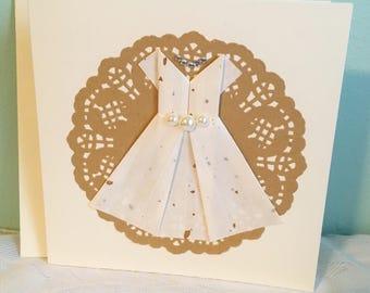 Handmade Wedding Card with envelope - Origami Dress - Bridal Shower, Congratulations, Wedding, Engagement