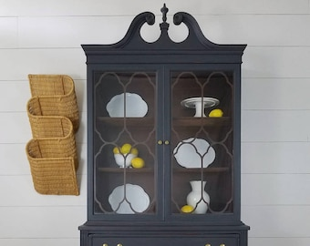 Graphite Painted China Cabinet Dark Grey Hutch Vintage Black Storage Unit Thomasville Federal Style Dining Furniture & China cabinet   Etsy