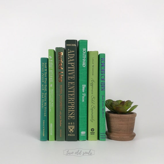 Curated Lime And Hunter Green Hardcover Decorative Book Etsy