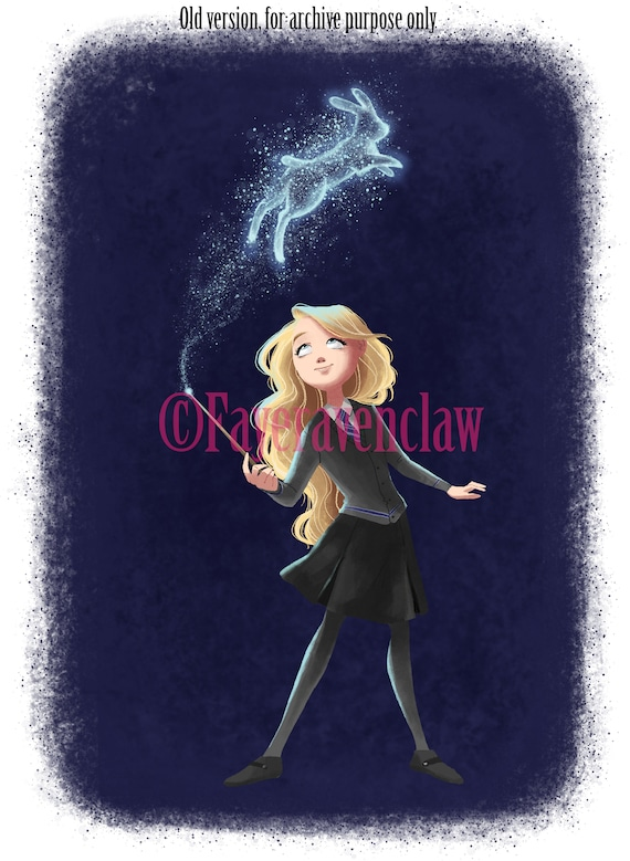 Luna Digital Drawing Harry Lovegood Potter Fan Art Etsy