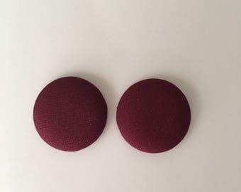 Maroon Button Earrings | Button Earrings| Multiple Color Options| maroon|maroon earrings