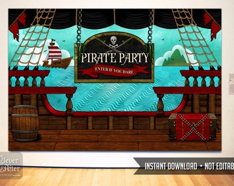 Pirate Party Backdrop pirates birthday poster buffet table background photobooth pirate ship deck banner printable instant download sign