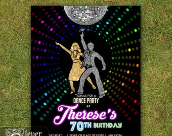 Disco Invitation 70's disco dance night party invite Neon disco ball lights birthday invitations 1970's disco fever theme prom retro printed
