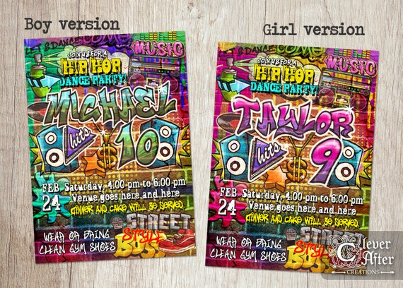 Hip Hop 80s Vs 90s Invitation Hiphop Dance Party Birthday