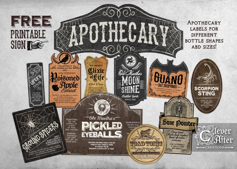 photograph about Free Printable Vintage Apothecary Labels called Apothecary Labels Witchs Apothecary Traditional Bottle Label Halloween printable labels orted antique collage sheet potions, poison indicator