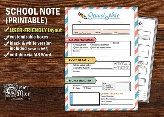 School Note From Home Printable Absence Tardiness Excuse Letter Classroom Class Note To Teacher Editable School Notes Form Template Instant