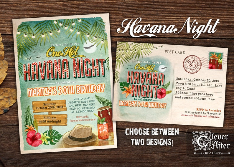 Havana Nights Invitation One Hot Havana Night Party Invite Etsy