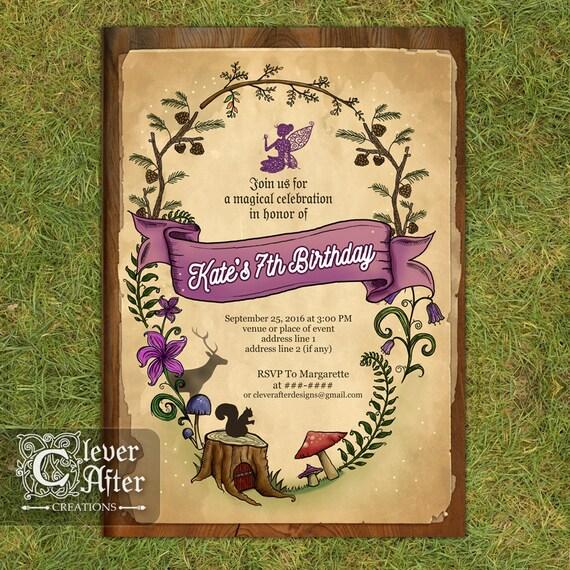 Enchanted Forest Invitation Enchanted Garden Invite Fairy