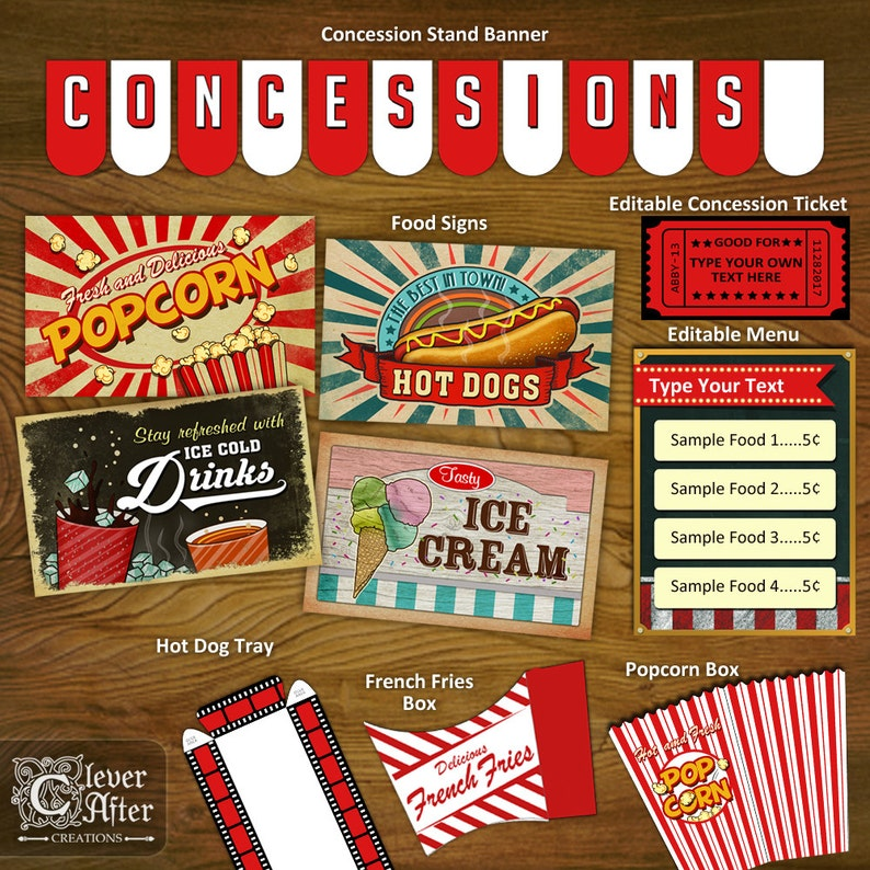 photo regarding Concession Stand Signs Printable known as Concession Stand Printables Concessions Social gathering Decorations Printable Package banner symptoms popcorn box traditional video clip theater snack bar instantaneous
