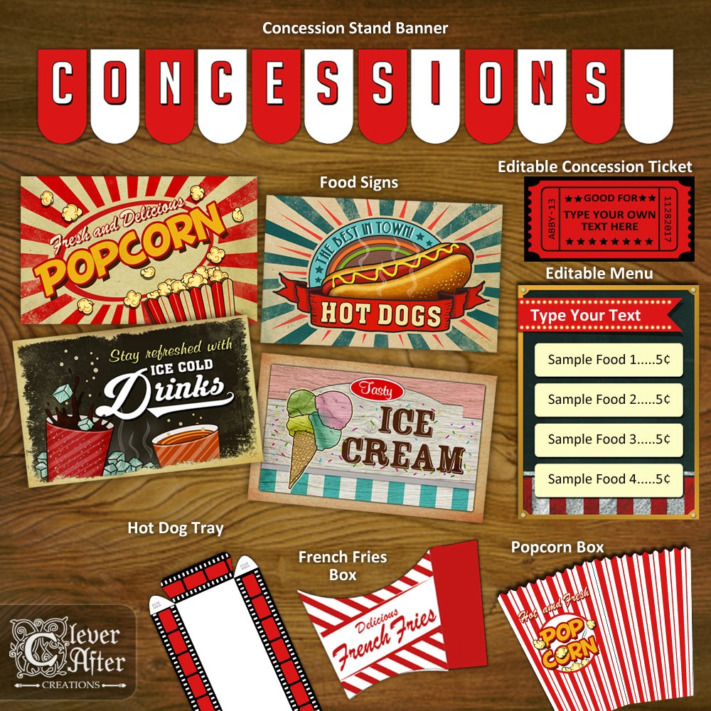 Concession Stand Printables Concessions Party Decorations